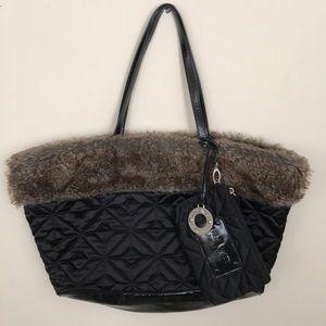 NINE WEST quilted/ fur lined weekender bag-pockets